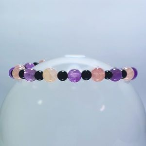 Jewelry - Genuine Rose Quartz Amethyst & Tourmaline Bracelet